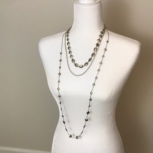"""Three Tiered Deep Gold Toned Necklace 20"""""""